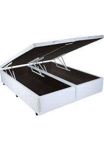 Cama Box King Size Com Baú Sonnoforte Corino Branco Com Pistão - 178X198
