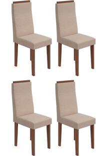 Conjunto Com 4 Cadeiras Dafne Ll Imbuia E Bege