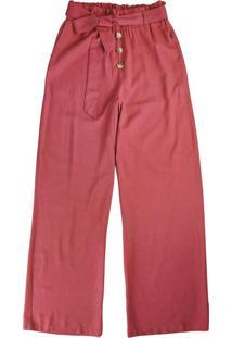 Calça Vermelha Pantalona Com Linho