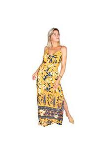 Vestido Longo Modisch Fenda Âmbar Amarelo