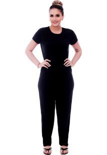 Pijama Ficalinda De Blusa Manga Curta Preta E Viés Preto E Calça Comprida Preta