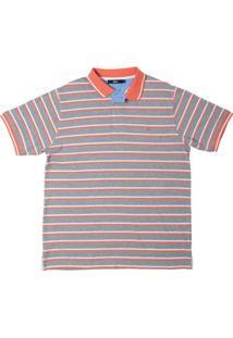 Camisa Polo Listrada Cinza Claro P