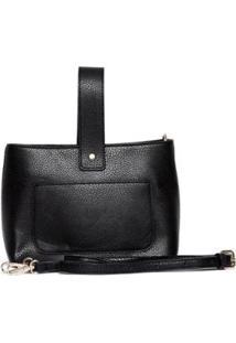 Bolsa Nice Bag Mini Alça Retrátil Mão Feminina - Feminino-Preto