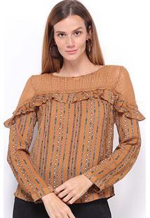 Blusas Heli Feminino Open Shoulder-A179002 - Feminino-Marrom