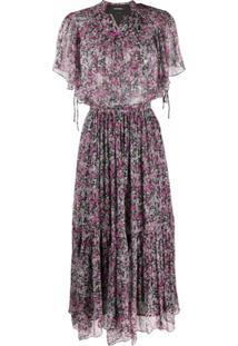 Isabel Marant Vestido Longa Com Estampa Floral - Roxo