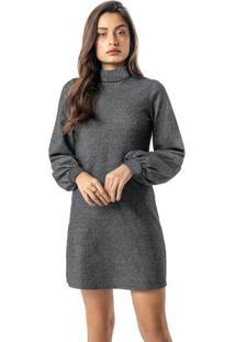 Vestido Cinza Curto Em Moletinho Com Lurex