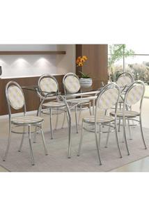 Mesa 379 Com Vidro Incolor Cromada Com 6 Cadeiras 190 Retrô Metalizado Carraro