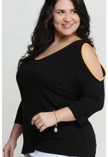 Blusa Feminina Open Shoulder Viés Plus Size