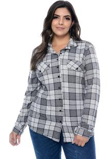 Camisa Fajos Plus Size Xadrez Mescla Cinza