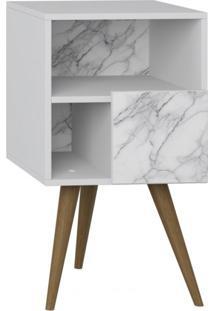 Criado Mudo 1 Porta Retrô Be Mobiliário Branco/Carrara