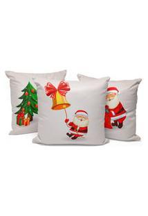 Kit 3 Capas Para Almofada Love Decors Decorativas Papai Noel Cute