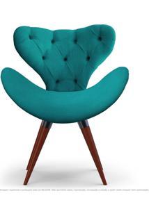 Poltrona Com Capitonê Decorativa Cadeira Egg Azul Turquesa Com Base Fixa De Madeira