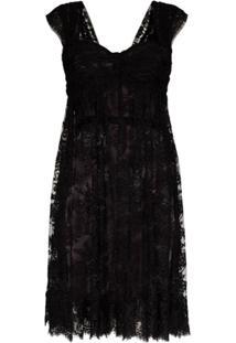 Dolce & Gabbana Vestido Translúcido Com Renda - Preto