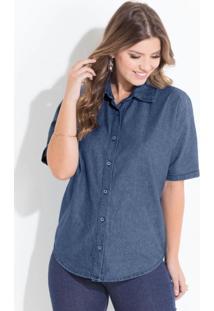 cf1f90f84 ... Camisa (Jeans) Quintess Com Botões E Gola