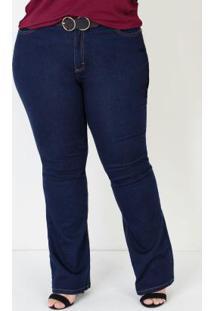 Calça Flare Jeans Plus Size Azul Escuro