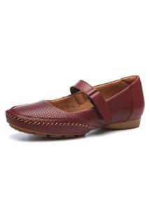 Sapato Couro Doctor Shoes 2779 Pespontos Marsala