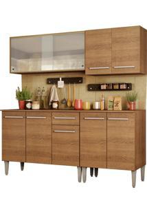Cozinha Completa Madesa Emilly Box Com Balcão E Armário Vidro Miniboreal Marrom