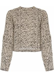 Nanushka Blusa Com Estampa De Zebra 'Louise' - Preto