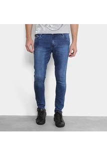 Calça Jeans Skinny Gangster Marmorizada Elastano Masculina - Masculino