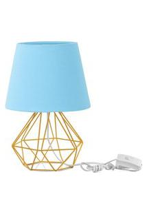 Abajur Diamante Dome Azul Bebe Com Aramado Amarelo
