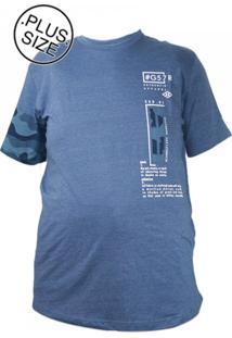 Camiseta Plus Size Gangster Camuflada Azul