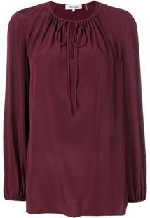 Dvf Diane Von Furstenberg Blusa De Seda Com Amarração Na Gola - Vermelho