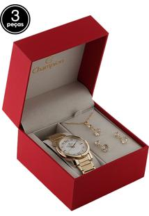 Kit 3 Pçs Relógio Champion Cn25253B Dourado