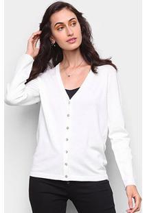 Cardigan Tricot Miose Botões Feminino - Feminino-Off White
