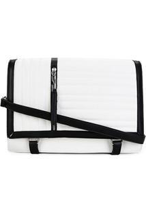 Bolsa Santa Lolla Flap Matelassê Zíper Personalizado Feminina - Feminino-Preto+Branco