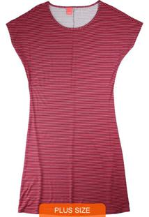 Vestido Vermelho Curto Listrado