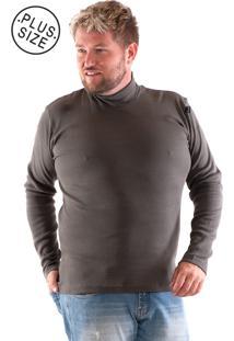 Camiseta Konciny Gola Alta Plus Size Musgo