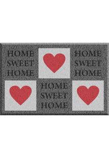 Capacho De Vinil Home Sweet Home Cinza Único Love Decor