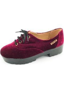 Oxford Quality Shoes Tratorado Veludo Feminino - Feminino-Bordô