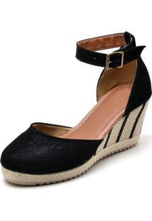 Sandália Ousy Shoes Anabela Preto - Kanui