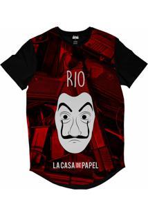 Camiseta Longline Attack Life La Casa De Papel Rio Sublimada Vermelho