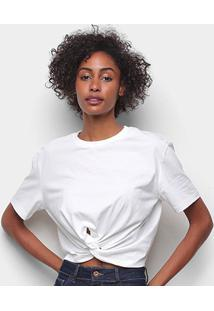 Camiseta Colcci Detalhe Transpassado Feminina - Feminino-Areia