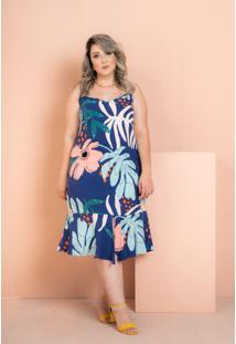 Vestido Curto Jade Folhagem Azul Royal Plus Size
