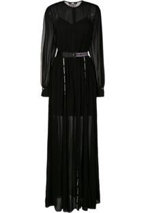 Karl Lagerfeld Belted Maxi Shirt Dress - Preto