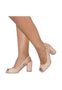 Sapato Feminino Amorelle Sandália Peep Toe Salto Alto Grosso Conforto Marfim