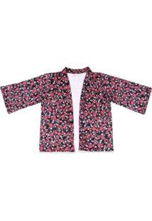 Kimono Pernambucanas Manga Longa Floral Feminino - Feminino-Rosa