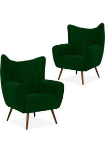 Kit 02 Poltronas Decorativas Para Sala De Estar Kora Pã©S Palito Tress㪠Veludo Liso B-303 - Lyam Decor - Verde - Dafiti