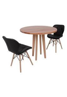 Conjunto Mesa De Jantar Em Madeira 90Cm Com Base Vértice + 2 Cadeiras Slim - Preto