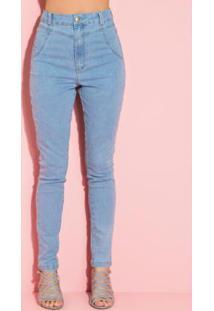 Calça Jeans Azul Claro Com Recortes