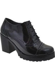 Sapato Oxford Q&A Em Couro Verniz Feminino - Feminino-Preto