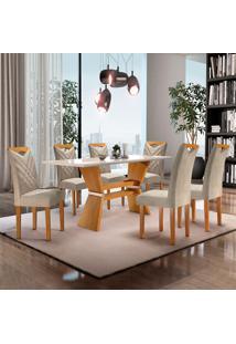 Conjunto De Mesa De Jantar Oxford Com Vidro E 6 Cadeiras Jacquard L Off White E Bege