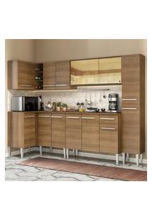 Cozinha Completa De Canto Madesa Emilly Wave Com Armário Vidro Reflex, Balcáo E Paneleiro Marrom