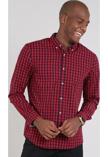 Camisa Masculina Comfort Estampada Xadrez Manga Longa Vermelha