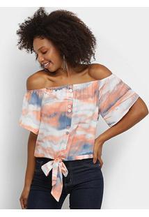 Blusa Lily Fashion Ombro A Ombro Tie Dye Feminina - Feminino-Rosê