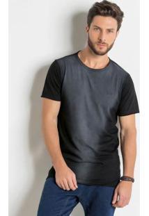 Camiseta Longline Preta Com Efeito Jateado