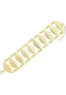 Pulseira Elipse Em Detalhes Fosco 3Rs Semijoias Dourado
